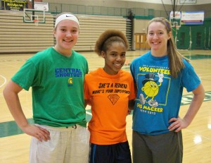 Reeths-Puffer's Delaney Bolles, Camaryia Williams and Brooke Larabee.