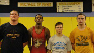 Grand Haven wrestling team captains: Chase Vanhoef (285), Aaron Cummings (160), Camden Bertucci (125) and Nick Mulcahy (189).