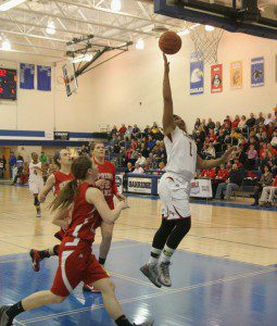 Amiya Brown gets to the hoop for Orchard View. Photo/Scott Stone