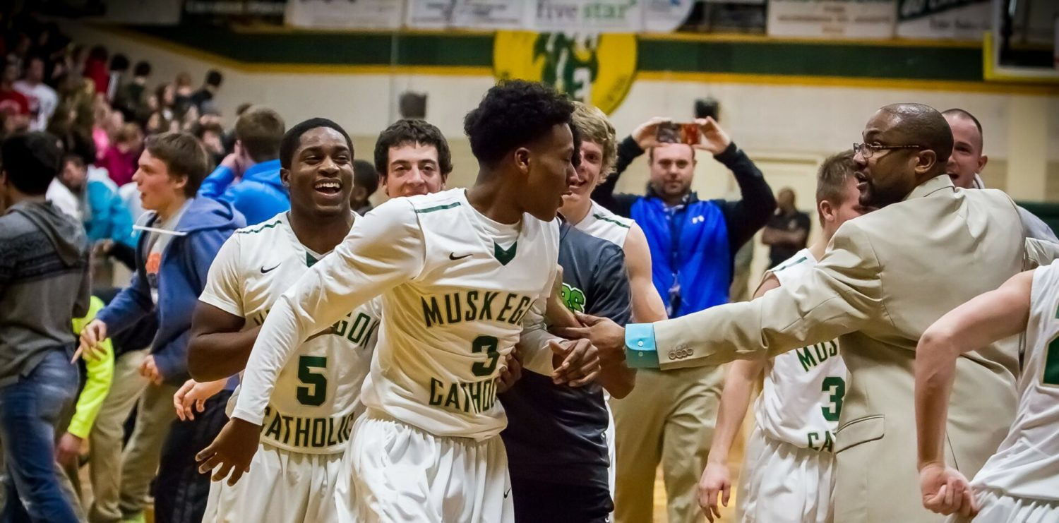 Martinez' miracle bank shot at the buzzer gives Muskegon Catholic a 50-49 win over Spring Lake and the Lakes 8 title [VIDEO]