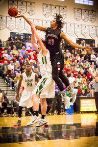 Deyonta Davis skies for one of his 17 rebounds. Photo/Tim Reilly