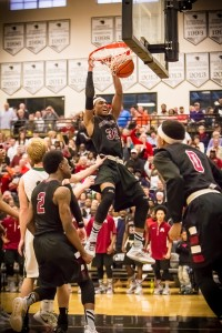 Muskegon #32 Joeviair Kennedy hits on a huge dunk photo/Tim Reilly
