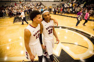 Muskegon big reds Joeviair Kennedy andJamal French share a moment after the Regional championship win photo/Tim Reilly
