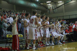 The Spring Lake bench reacts after a fourth quarter play late in the game. Photo/Carol Cooper