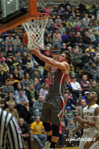 Zachary Montgomery goes up for the Spring Lake layup. Photo/Carol Cooper