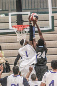 Will Wright gets up for the block. Photo/Joe Lane