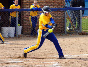 Amy Gillings hits a double for MCC. Photo/Sherry Wahr