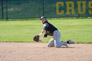 MCC's Zach Houston gets ready to make the out at first base from his knees after diving to snag a hard hit grounder up the middle. Photo/Marc Hoeksema