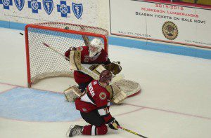 Eric Schierhorn posts the save for Muskegon. Photo/Marc Hoeksema
