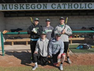 MCC baseball leaders: (top from left) Nick Holt, Anthony Woodard, Jacob Holt. (front from left ), Zach Huston, Zach Windsor.