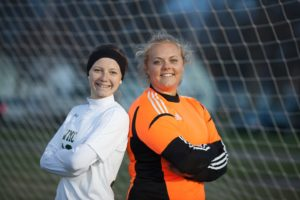 WMC soccer All-Staters Alexys Riksen, left, and Lindsey Johnson.