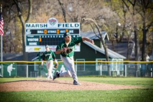 Nick Holt delivers the pitch for Muskegon Catholic. Photo/Tim Reilly