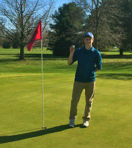 Mitch Edick after his hole-in-one on No. 6 at The Meadows of Old Channel.