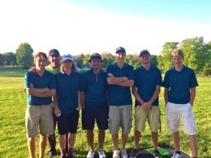 North Muskegon golfers, from left, Connor McEvoy, Coach Ty Love, Gannon Moss, Will Mierz, Mitch Edick, Brock Dobb and Brendan Harris.