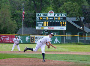 Aaron Jensen throws a pitch during the fourth inning for Muskegon. Photo/Jason Goorman