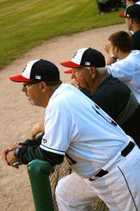 Head coach Walt Gawkowski (right) and assistant coach Brian Wright talk during the Clippers rough fifth inning. Photo/Jason Goorman