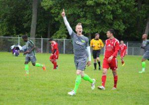 Alex Tozar celebrates after Muskegon goes up 2-0. Photo/Jason Goorman