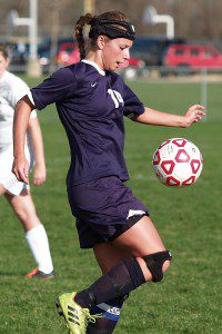 Marissa Hassevoort controls the ball in a game earlier this season. Photo/​Brian Wershem