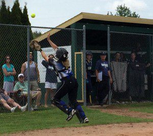 Montague catcher Randi Rice catches a foul ball during fourth inning action. Photo/Julie Rice