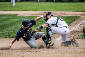 Clipper catcher Connor Glick attempts to make the tag at home plate. Photo/Joe Lane