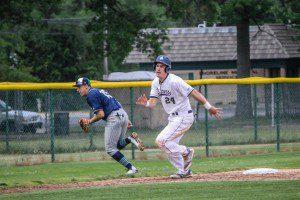 Jason Ribecky rounds third base for Muskegon. Photo/Joe Lane