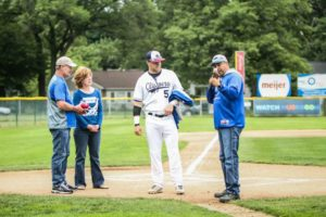 Jamie Potts, in his last game with the Muskegon Clippers, is given a fine farewell. Photo/Joe Lane