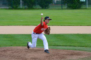 Whitehall's Jake Gillhespy delivers the pitch. Photo/Marc Hoeksema