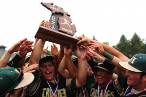 Muskegon Catholic celebrates after winning the Division 4 state championship. Photo/Jason Goorman