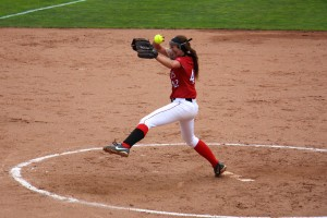 Rachel Younts winds up to deliver the pitch for Holton. Photo/Jason Goorman