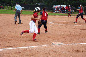 Kayla Cross gets ready to round third base to score Holton's lone run. Photo/Jason Goorman