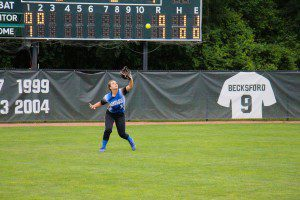Left fielder McKenna Lohman catches the fly ball for Montague. Photo/Jason Goorman