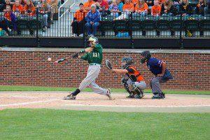John Sanocki gets the bat on the ball for MCC. Photo/Jason Goorman
