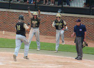 Nick Holt touches home plate as No. 6 Zack Winzer and No. 5 Zack Houston celebrate. Photo/Jason Goorman