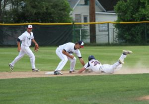 Kyle Lawson applies at second base for Muskegon. Photo/Scott Stone