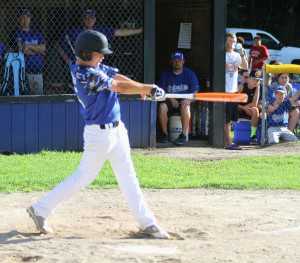 Ryan Gillings follows thrugh on a home run swing. Photo/Scott Stone