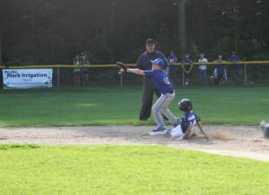 Oakridge's Garret Wever makes the force play at second base. Photo/Scott Stone
