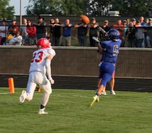 Ravenna's Dakota Hudson makes the touchdown catch. Photo/Scott Stone