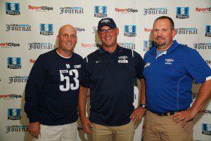 Mona Shores head coach Matt Koziak, Fruitport head coach Greg Vargas and Oakridge head coach Cary Harger. Photo/Marc Hoeksema