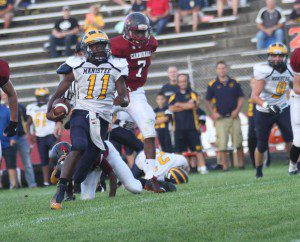 Manistee's running back Tai Allen finds a lane against Orchard View. Photo/Scott Stone
