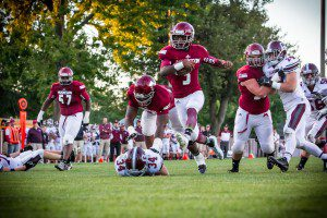 Muskegon's Kalil Pimpleton on the rushing TD. Photo/Tim Reilly