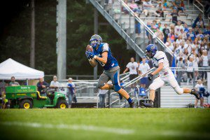 Montague No. 6 Josh Weesies hauls in the big td pass. Photo/Tim Reilly