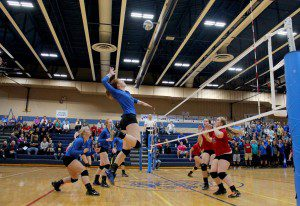 Montague's Emma Flagstead gears up for the kill during Game 2 action. Photo/Jason Goorman