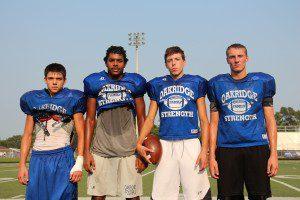 Oakridge receivers Hunter Drummond, James Cooper III, Jaegar Beattie and Nate Wahr. Photo/Jason Goorman.