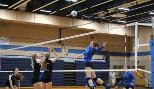 Montague's Emma Flagstead goes for the spike. Photo/Jason Goorman