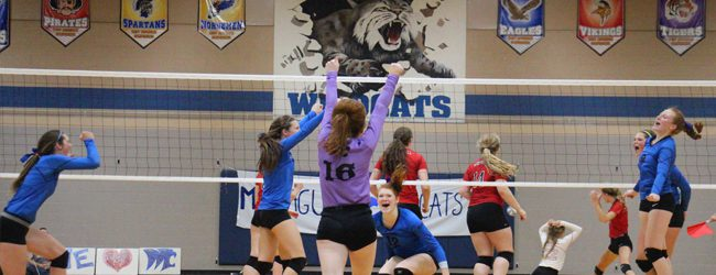 Montague volleyball team defeats Whitehall in three sets, ending Vikings' 54-match conference winning streak