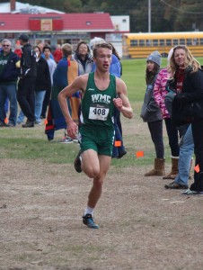 WMC's Braxton Snuffer gets ready to cross the finishline to win the GMAA city cross country. Photo/Jason Goorman