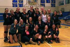 Conference champions Whitehall consists of Emma Knowlton (1), Hanna Evans (22), Andie Bolles (3), Gabrielle Hepler (4), Tiffany Young (5), Avery White (7), Alyssa Myers (8), Lauren Lopez (9), Julie Brown (10), Melissa Shoup (12), Jessica Uganski (13), Brianna Copley (14), Madelyn Boyd, Katelyn Goodrich, Talia Megna and Clara Moore. Photo/Steve Markel