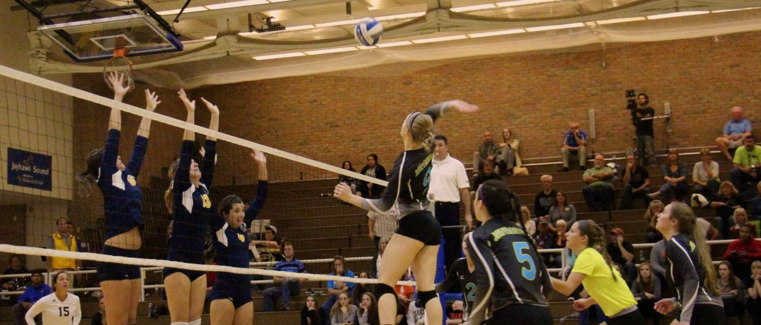 MCC Jayhawks volleyball team gets knocked out of first place with a four-set loss to Grand Rapids CC