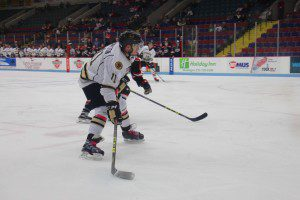 Trevor Hailton gets ready for the wrist shot during first period action for Muskegon. Photo/Jason Goorman