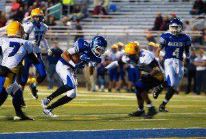 Jaeger Beattie fights for the Oakridge touchdown. Photo/Sherry Wahr